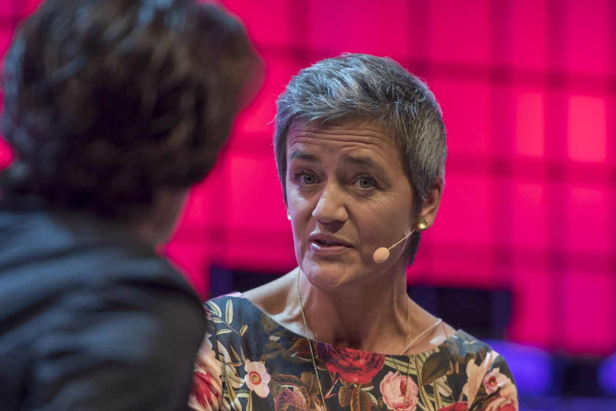 EU competition commissioner Margrethe Vestager onstage with Kara Swisher at the Web Summit in Lisbon, Portugal