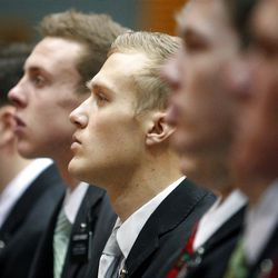 Missionaries attend the Christmas Morning Devotional at the Missionary Training Center in Provo on Tuesday, Dec. 25, 2012.