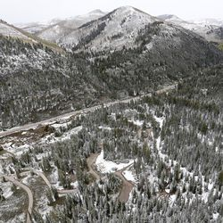 Snow covers the Spruces Campground in Big Cottonwood Canyon on Thursday, May 18, 2017.