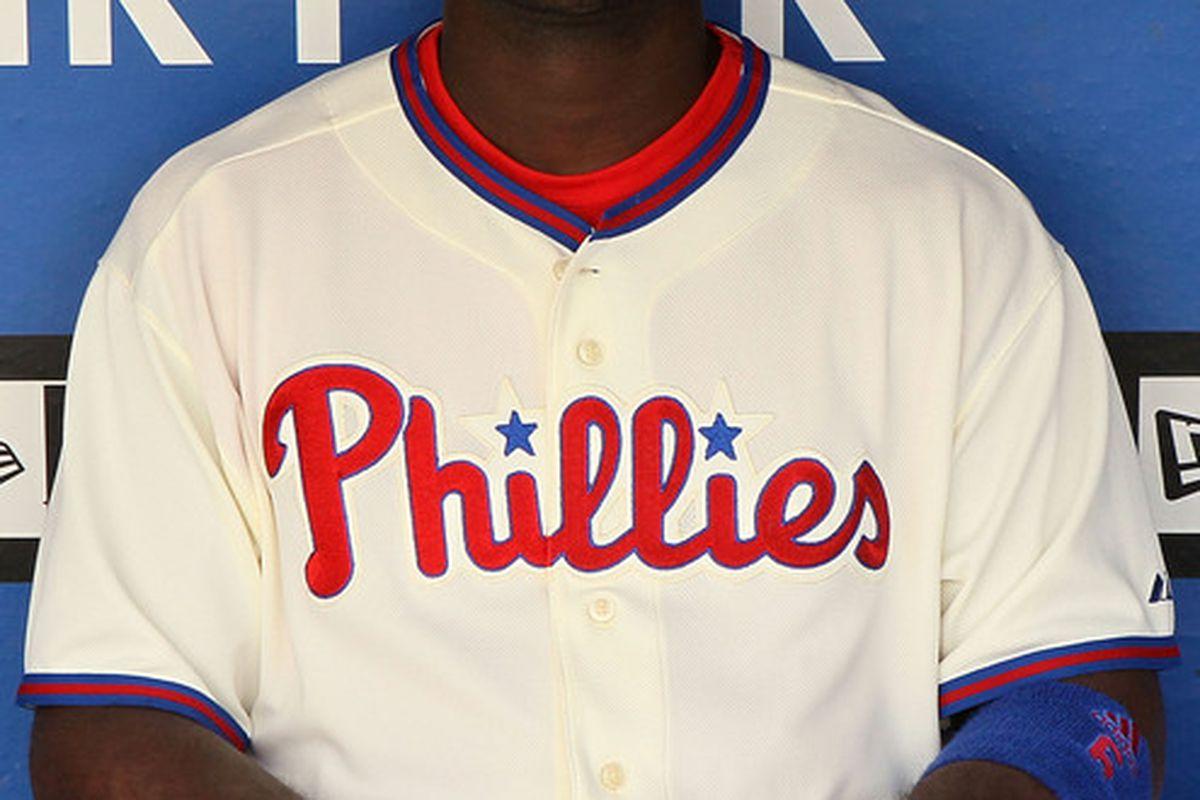 PHILADELPHIA - MAY 06:  Ryan Howard #6 of the Philadelphia Phillies looks really goofy in these sunglasses.