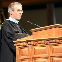 College President, J. Lawrence Richards speaks during LDS Business College's 125th Commencement in the Tabernacle on Temple Square in downtown Salt Lake City Friday, April 13, 2012.