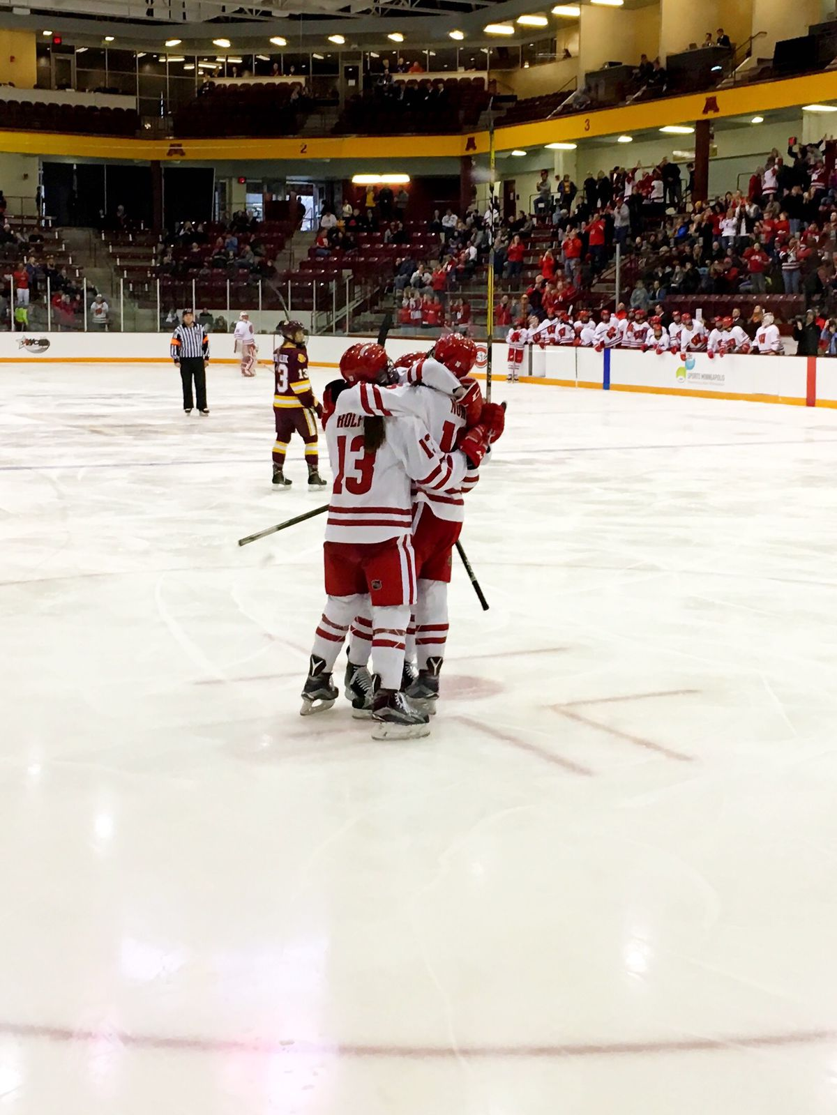 Wisconsin celebrating a goal during the 2017 WCHA tournament.
