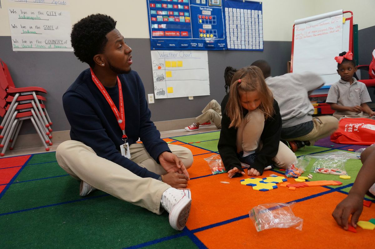Javonte' Williams at Circle City Prep, where he is training to become a teacher.