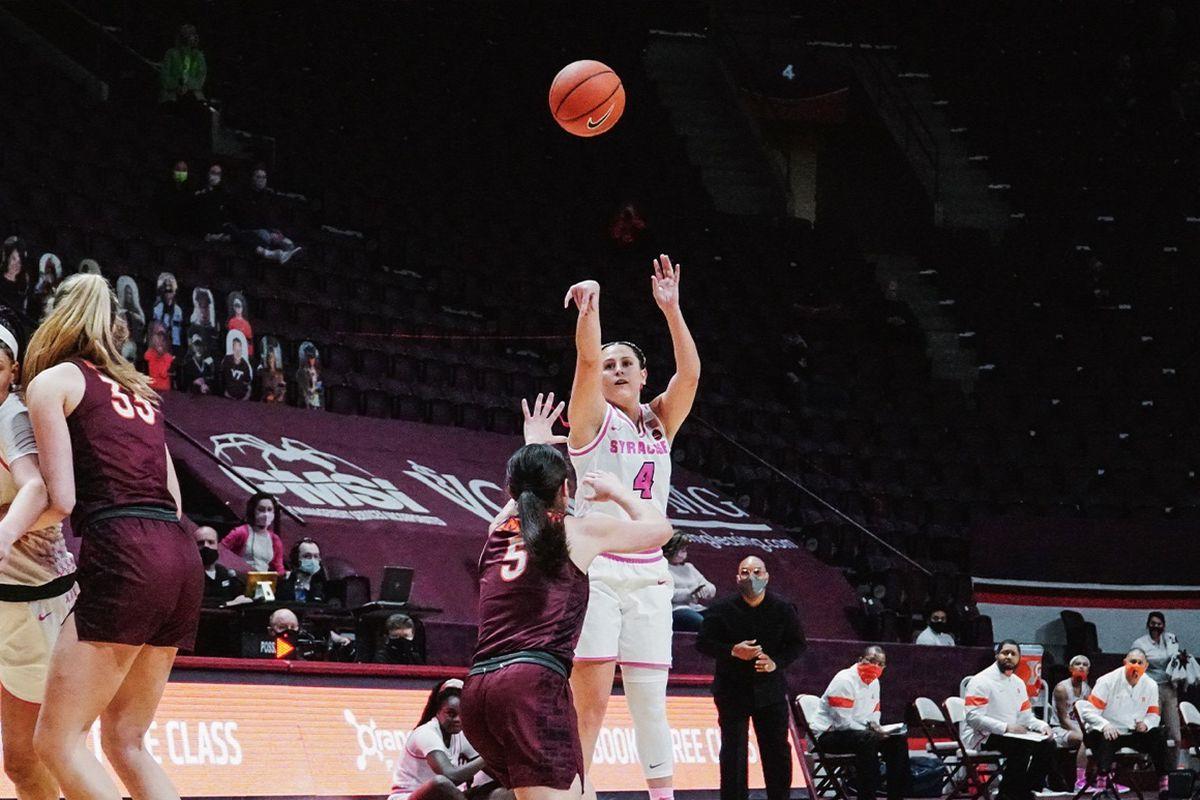 2.21.21 | Tiana Mangakahia at Virginia Tech. Photo by Olivia Coiro, Syracuse Athletics