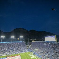 Two F-15E's from the 389th Fighter Squadron at Mountain Home Air Force Base in Idaho perform a flyover as BYU and Utah prepare to play an NCAA football game at LaVell Edwards Stadium in Provo on Saturday, Sept. 11, 2021.