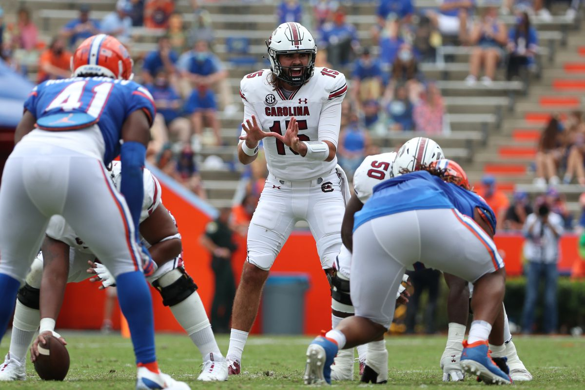 Collin Hill of the South Carolina Gamecocks calls a play against the Florida Gators at Ben Hill Griffin Stadium on October 3, 2020 in Gainesville, Florida.