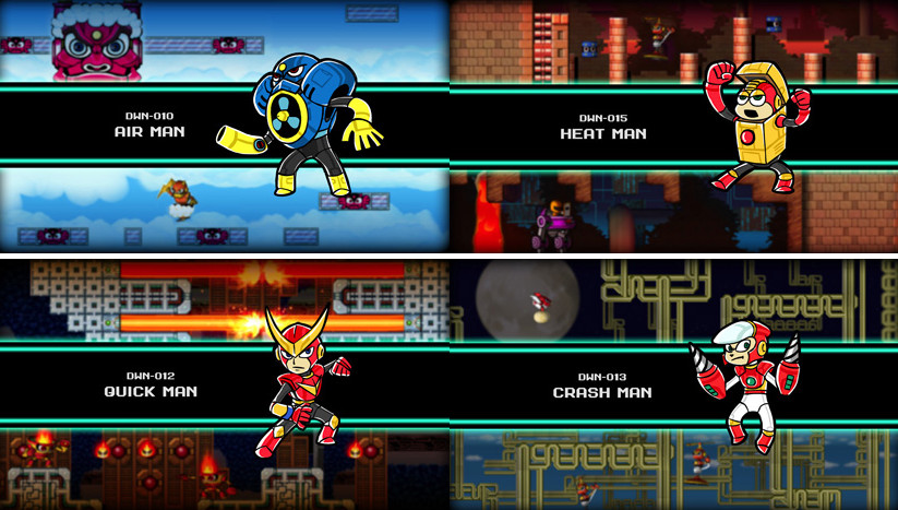 Concept art for four Robot Masters from the canceled Mega Man Universe