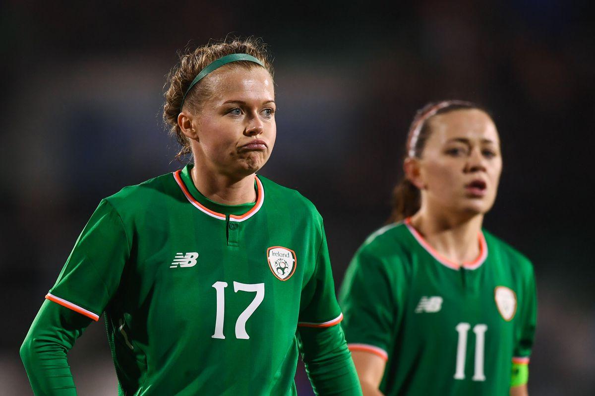 Ruesha Littlejohn, left, and Katie McCabe, Republic of Ireland v Netherlands - 2019 FIFA Women's World Cup Qualifier