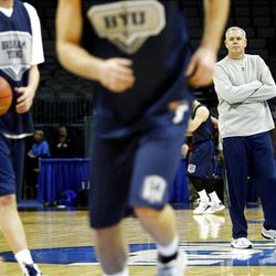 BYU coach Dave Rose watches his team during practice Wednesday at the Ford Center in Oklahoma City. The Cougars face Florida Thursday in the NCAA tournament.