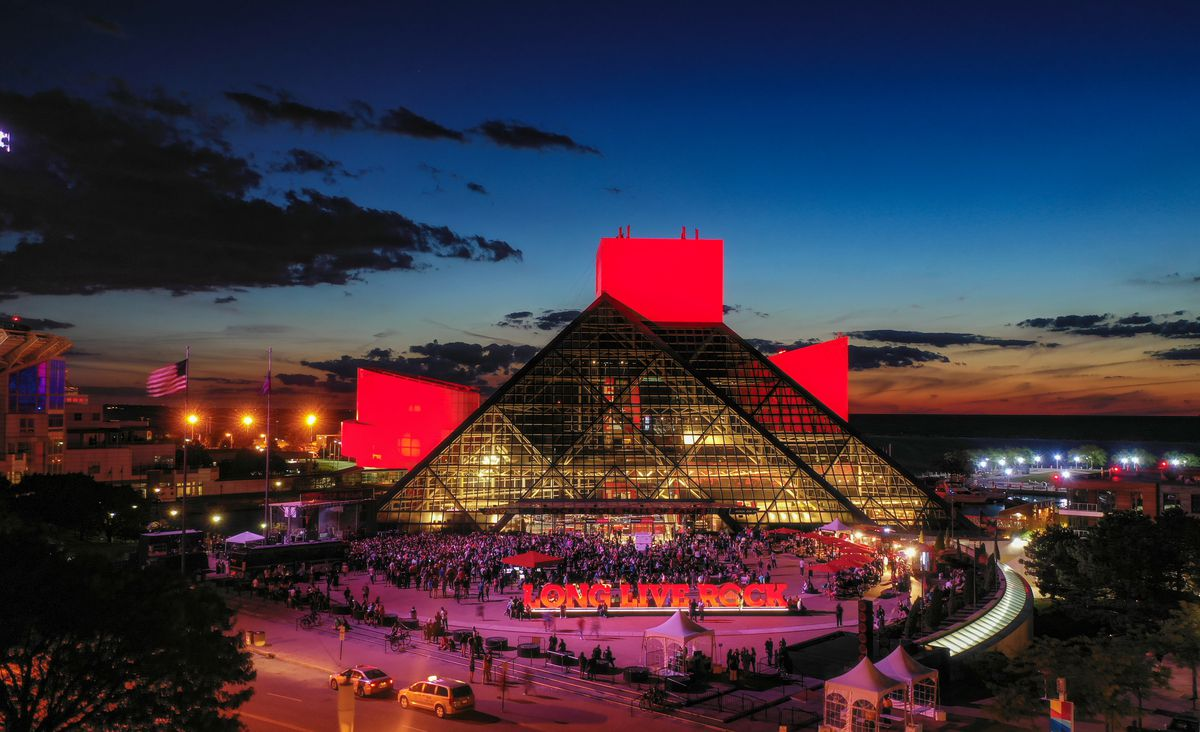 A photo of the exterior of the Rock & Roll Hall of Fame in Cleveland