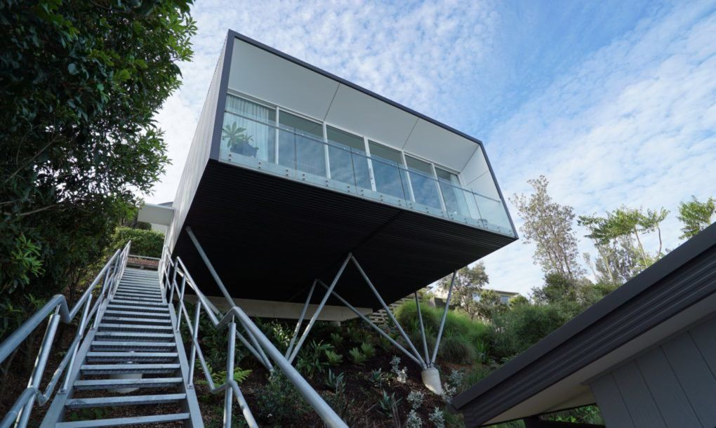 View of cube house from below