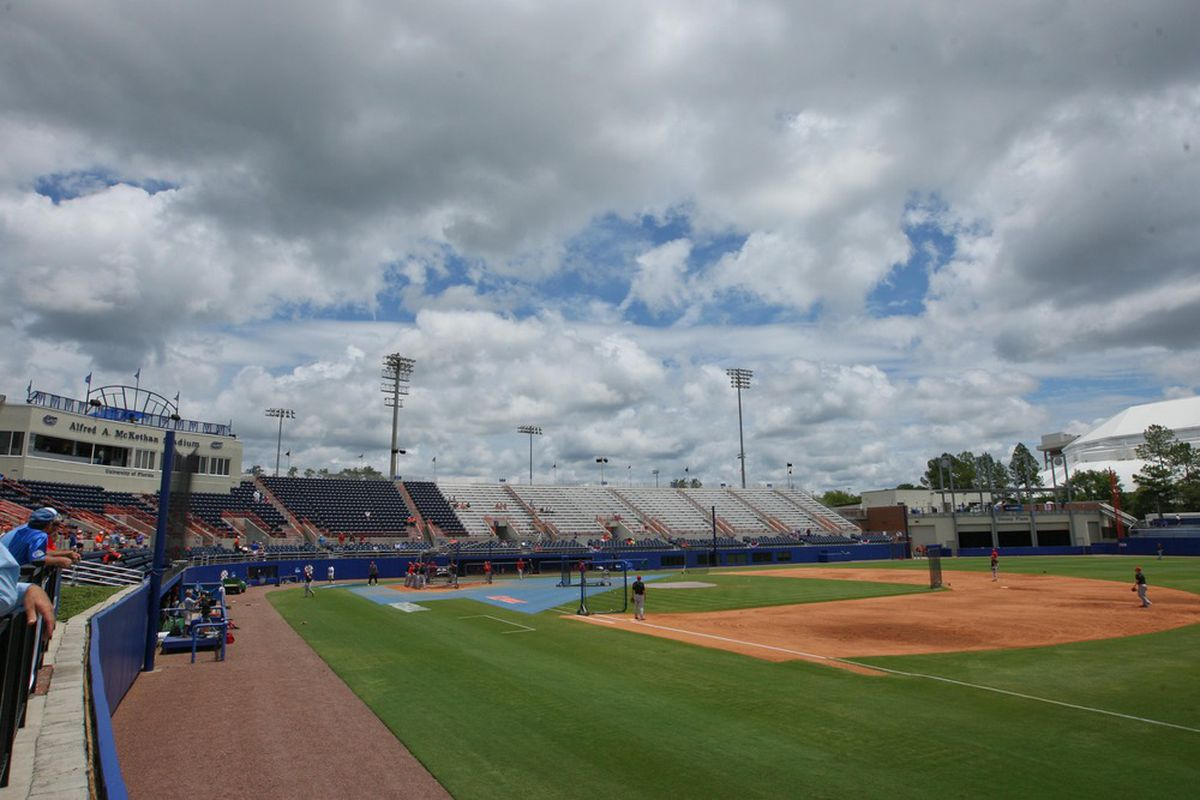 June 9, 2012; Gainesville, FL, USA; A general view as North Carolina State players take batting practice before game one of the Gainesville super regional against the Florida Gators at McKethan Stadium.  Mandatory Credit: Rob Foldy-US PRESSWIRE