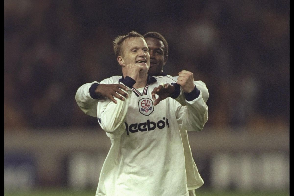 John McGinlay of Bolton celebrates scoring