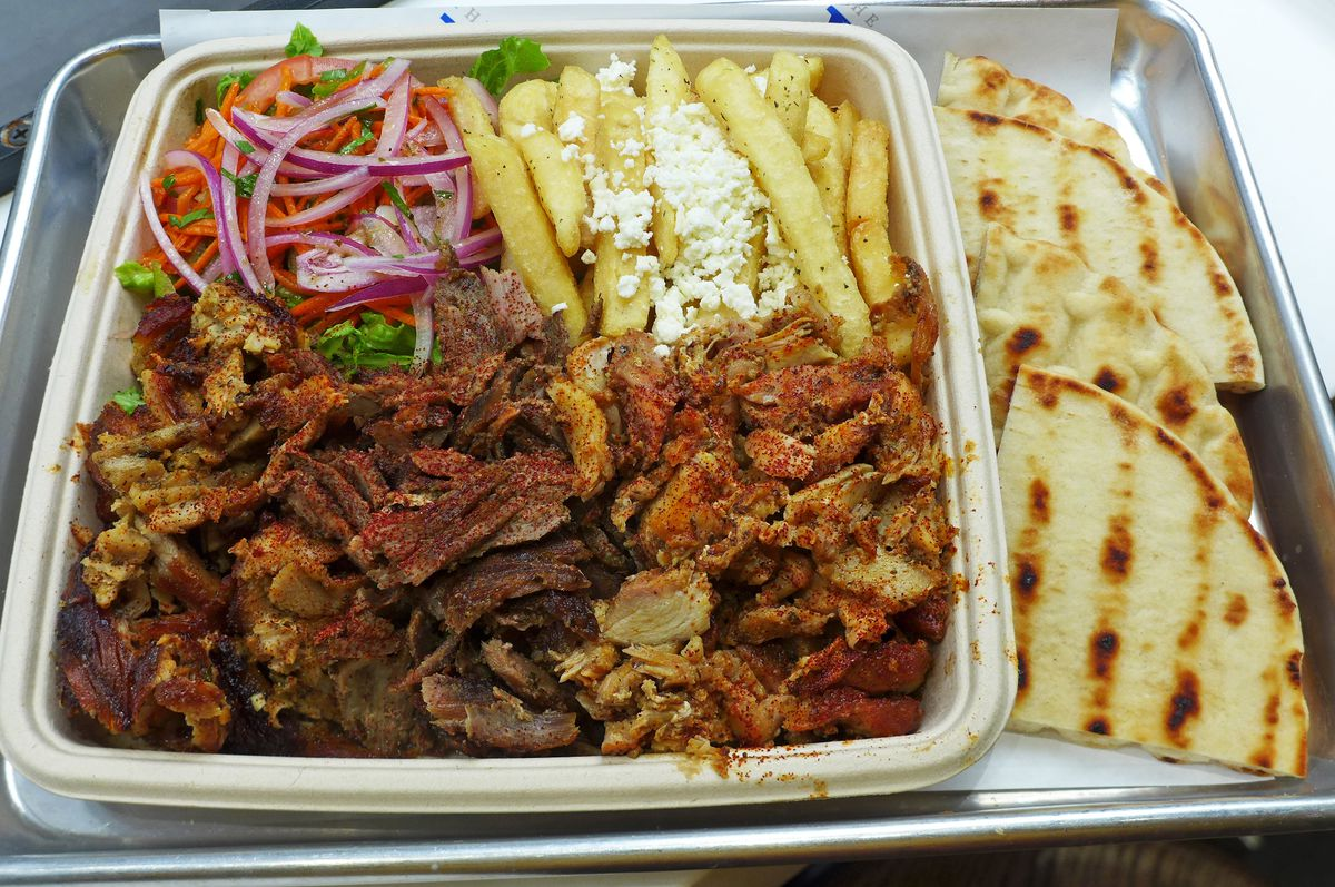 Three three meat special also comes with tzatziki.