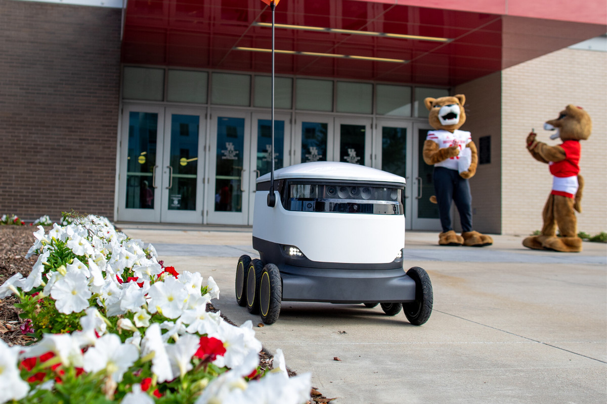 The Starship autonomous delivery robot on the University of Houston campus