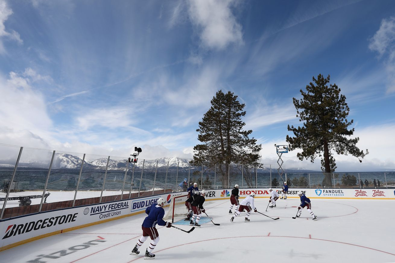 The Colorado Avalanche practice prior to the 'NHL Outdoors At Lake Tahoe' at the Edgewood Tahoe Resort on February 19, 2021 in Stateline, Nevada. On Saturday, February 20, the Colorado Avalanche will take on the Vegas Golden Knights, and the Boston Bruins will play the Philadelphia Flyers on Sunday, February 21.