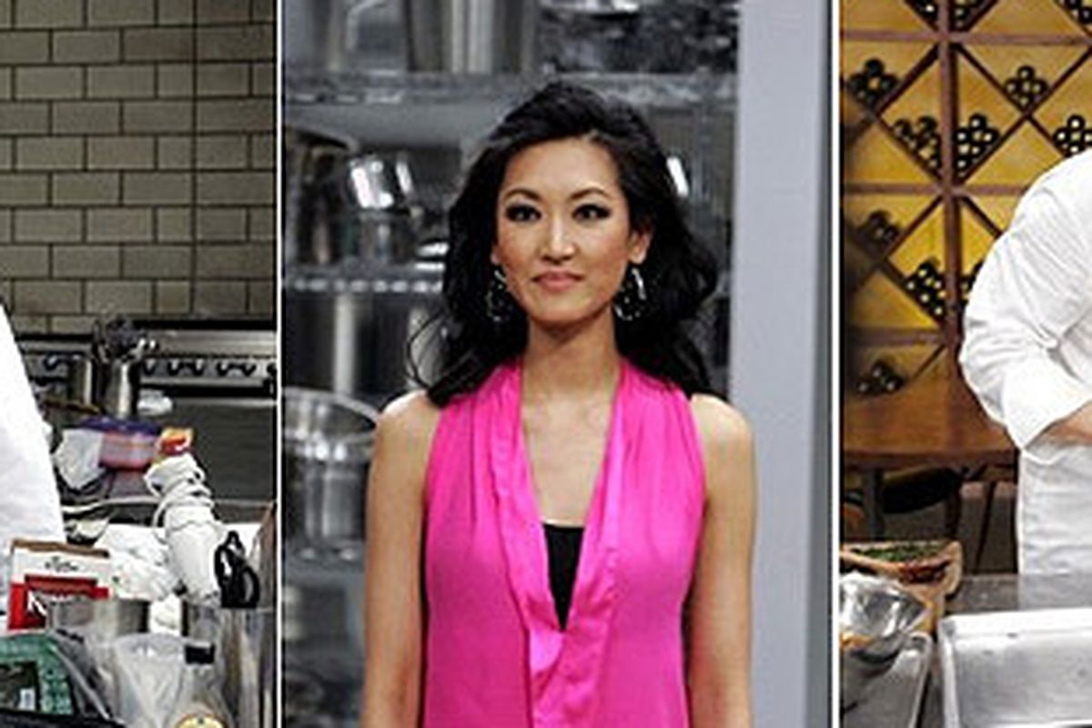 Hubert strikes a pose; Kelly Choi stares off into space; Chiarello makes a really big hamburger.