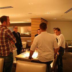 Owen Thomson, Jon Barry, Steve Fowler, John Miele, Matt Hill and Bryan Voltaggio confer at the end of the night.