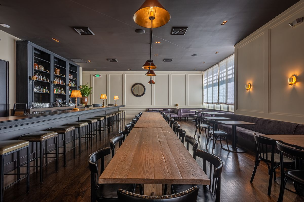 The dining room for A.O.C. in Brentwood