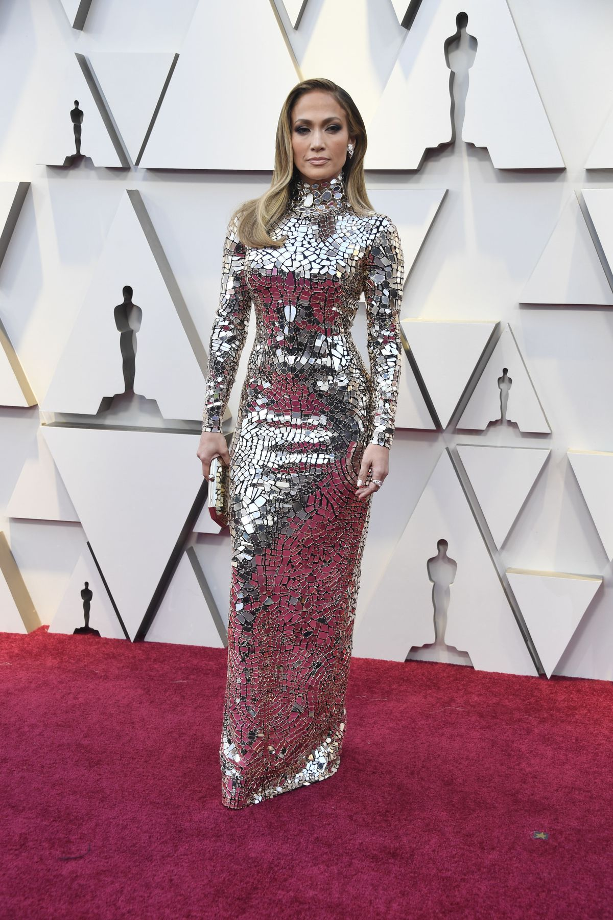 Jennifer Lopez attends the Academy Awards on February 24, 2019 in a stunning mirror/mosaic Tom Ford gown. | Frazer Harrison/Getty Images