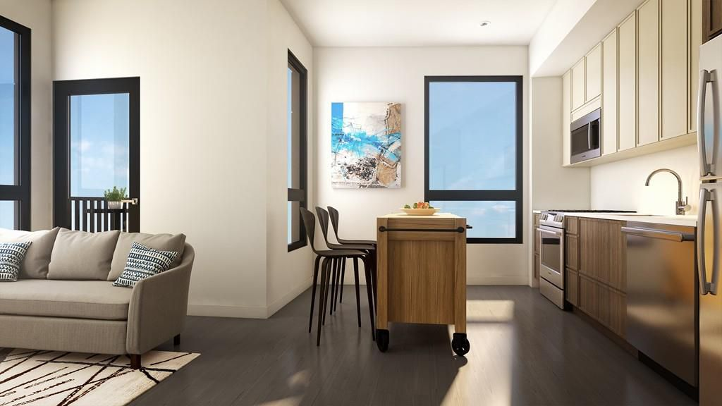 Rendering of an open kitchen next to a dining area, and there's an island separating the two.