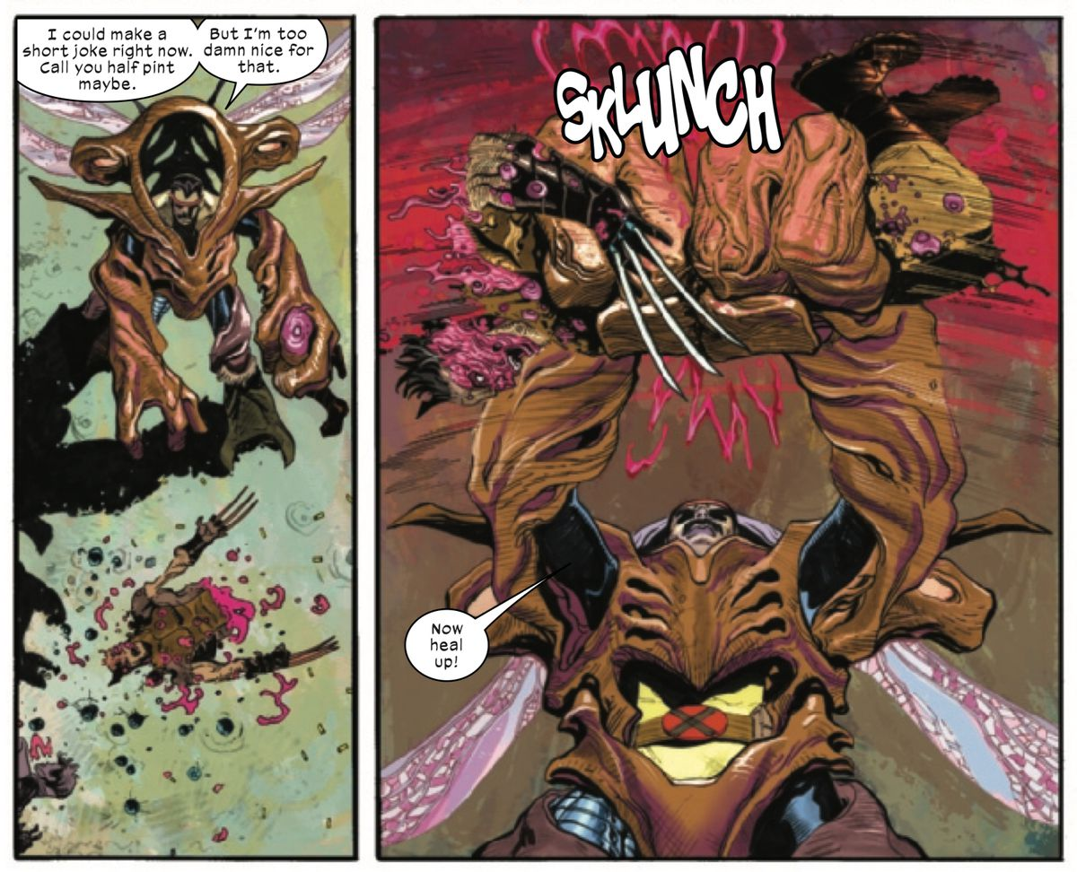 Forge, wearing a bio-tech mecha suit, picks up Wolverine's severed legs and torso and slams them together Humpty Dumpty style so he can heal, in X-Force #5, Marvel Comics (2020).