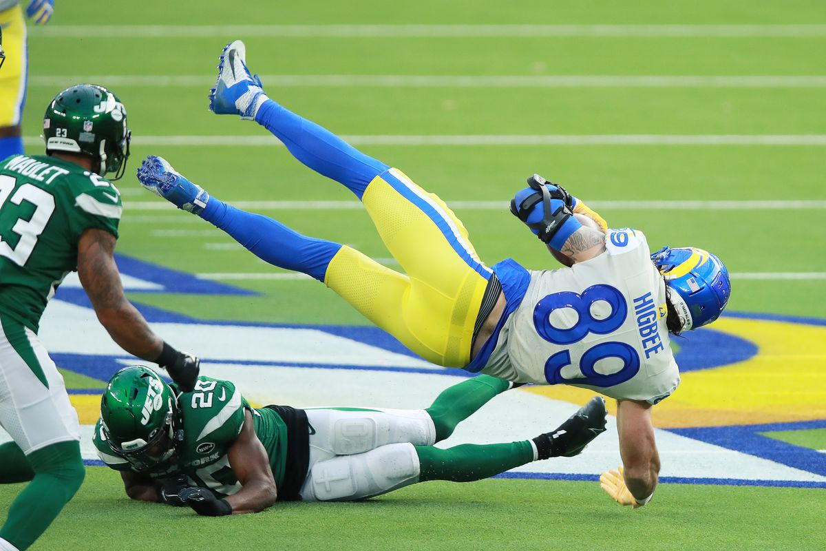 Tyler Higbee #89 of the Los Angeles Rams collides with Marcus Maye #20 of the New York Jets during the second quarter of a game at SoFi Stadium on December 20, 2020 in Inglewood, California.
