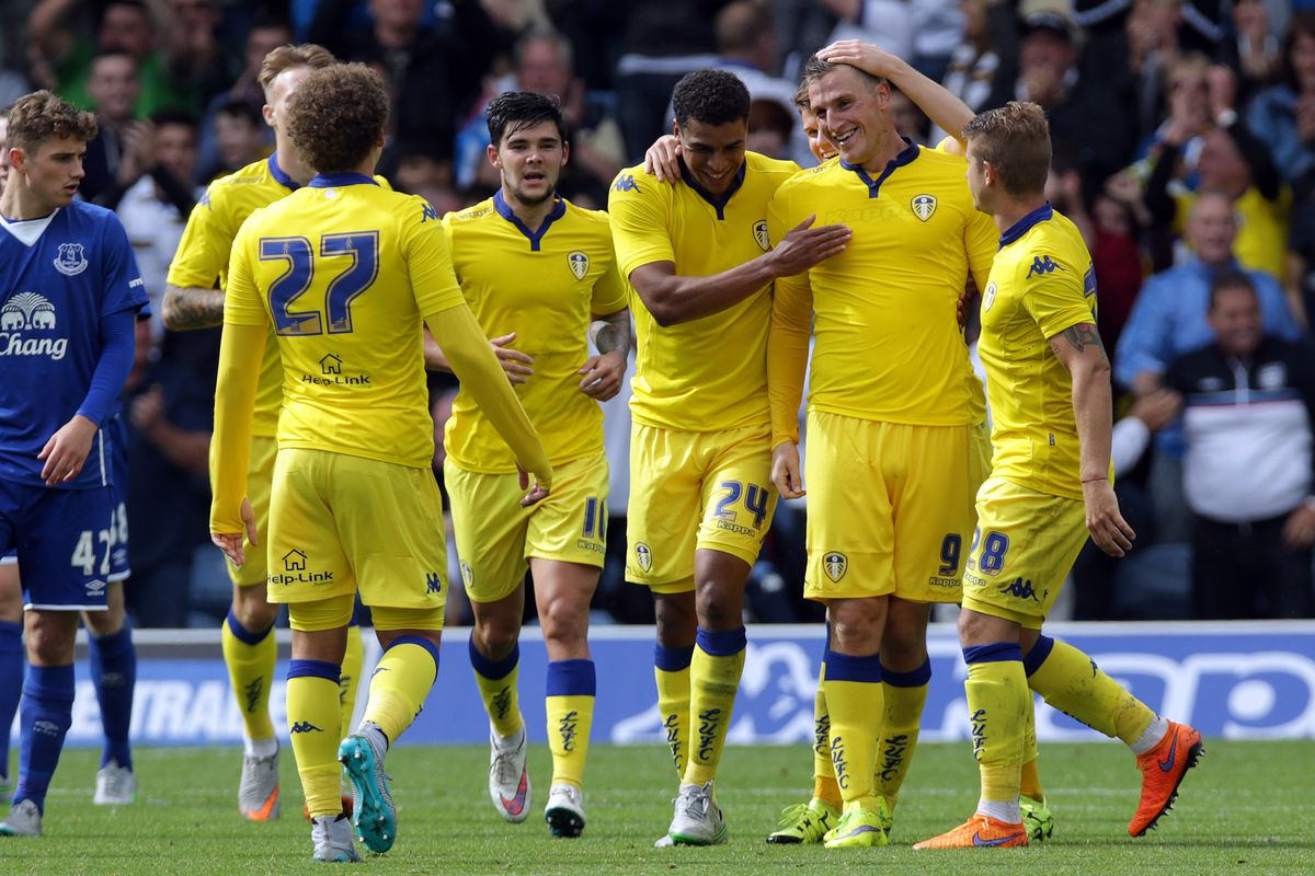 Players congratulate Chris Wood on his first goal for Leeds