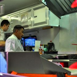 Chefs from Lavo work on one of the food trucks.