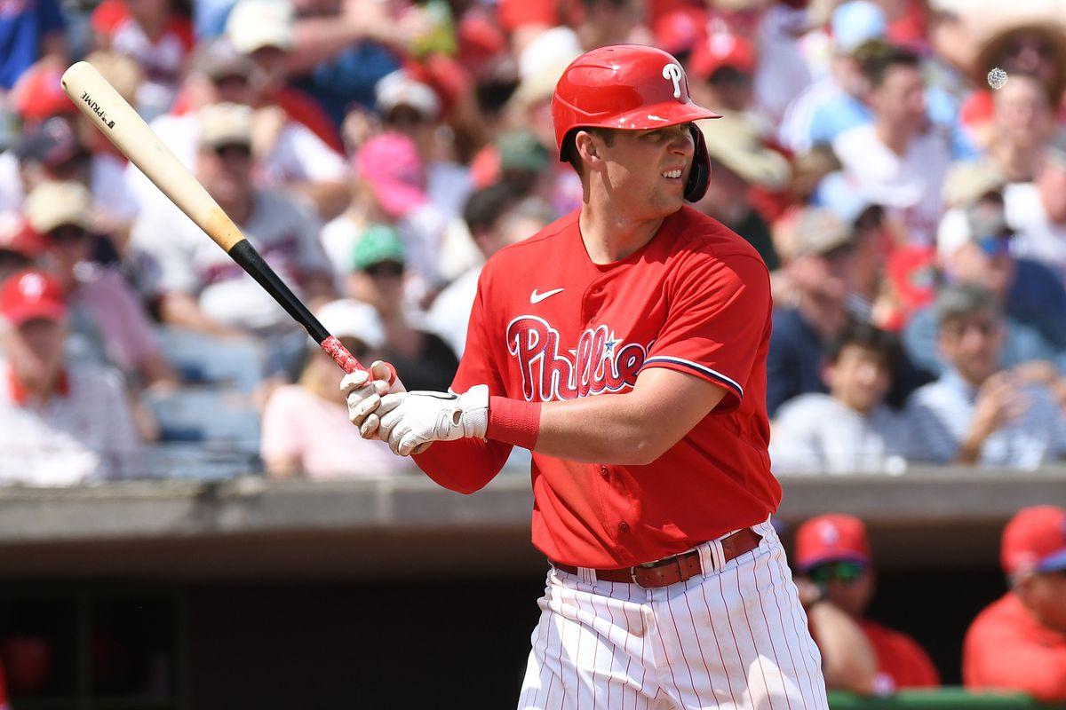 Philadelphia Phillies infielder Rhys Hoskins bats in the third inning against the Minnesota Twins at Spectrum Field.