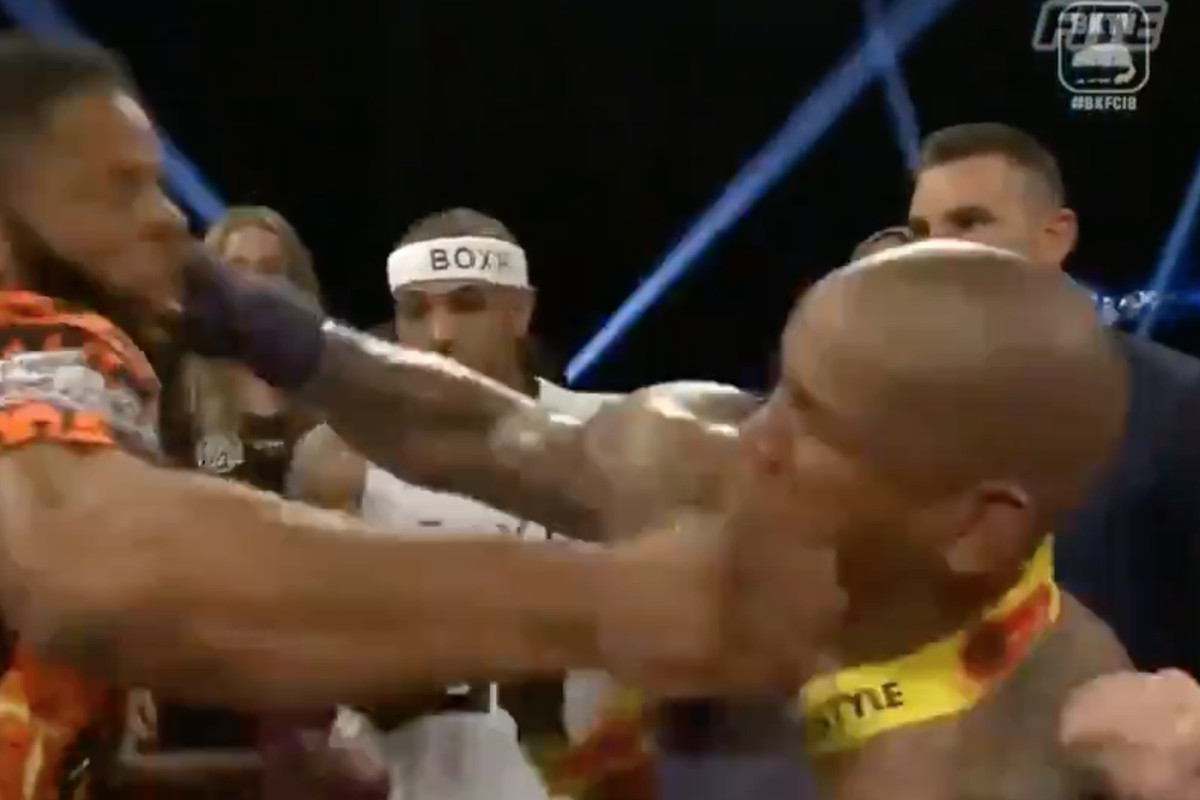 Newly-crowned BKFC cruiserweight champion Hector Lombard gets into a post-fight brawl with Lorenzo Hunt on Saturday at BKFC 18.
