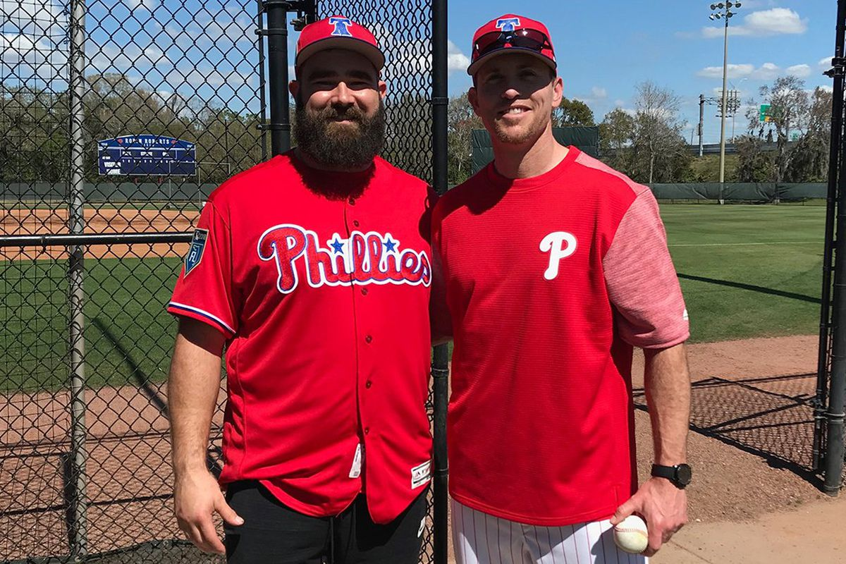12099a707 Jason Kelce visited the Phillies in spring training as a motivational  speaker