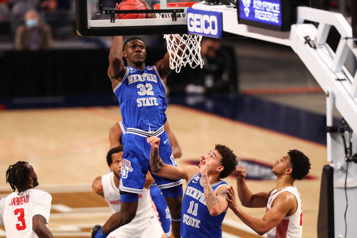 Memphis Tigers center Moussa Cisse grabs a rebound against the Houston Cougars during the first half at Dickies Arena.