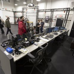 On one side of the massive, two-storey motion capture studio sits a bank of computers where animators can monitor performances in real time.
