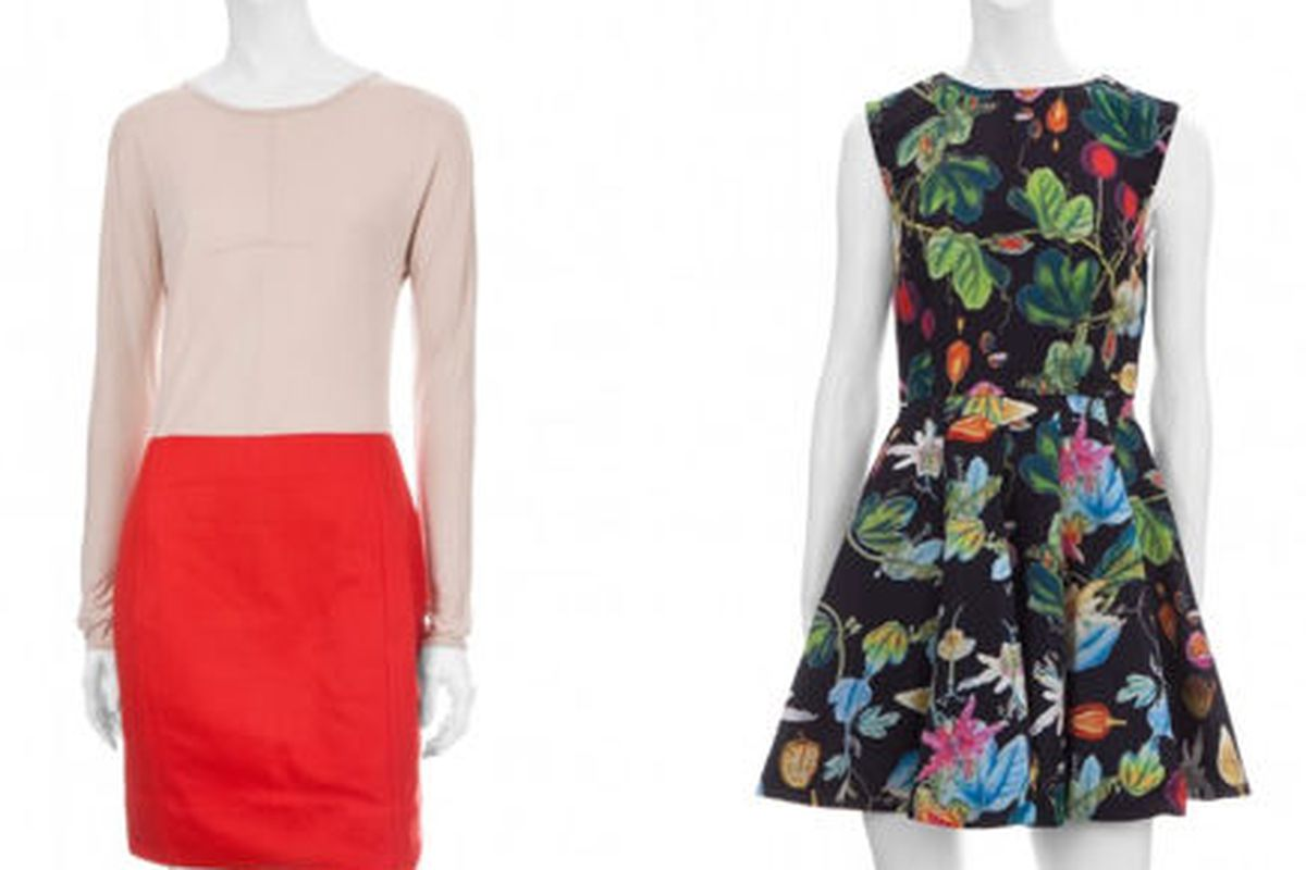 "<a href=""http://www.scoopnyc.com/women/dresses-1/claude-colorblock-dress?sale"">Marc by Marc Jacobs Claude color block dress</a>, $179 (was $298), and <a href=""http://www.scoopnyc.com/women/dresses-1/revival-mini-dress?sale"">Camilla and Marc Revival"