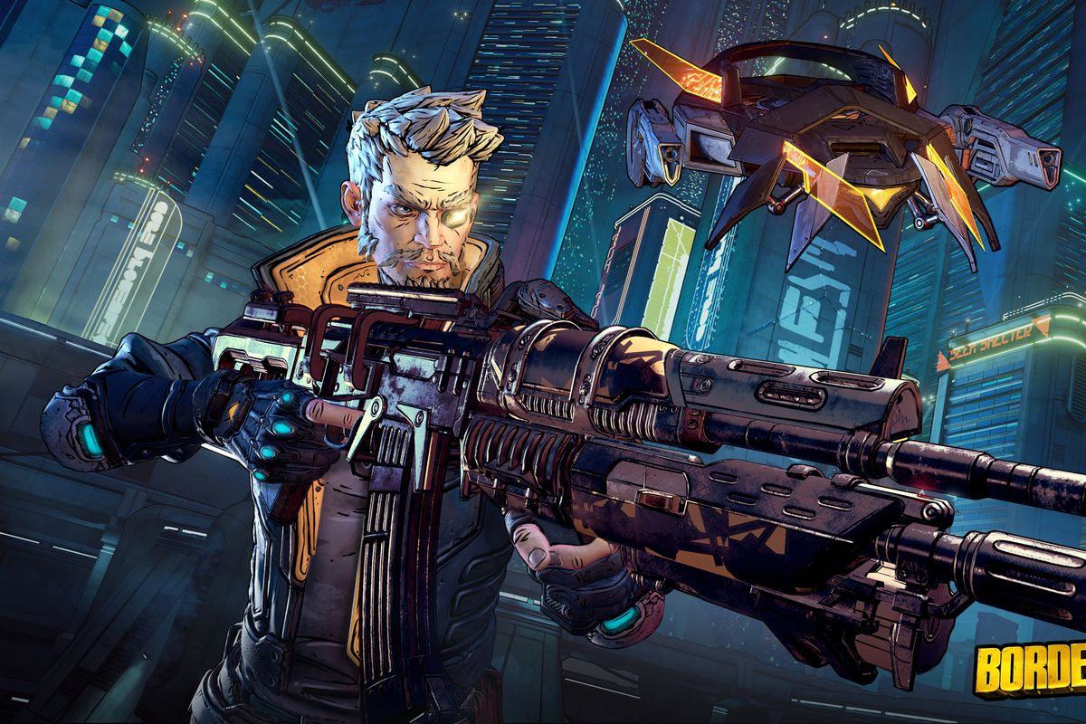 Zane aims his gun on the planet Meridian in a screenshot from Borderlands 3
