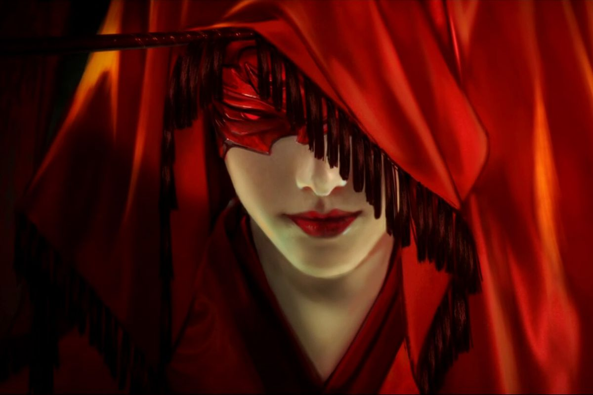 a red-hooded woman in Naraka: Bladepoint