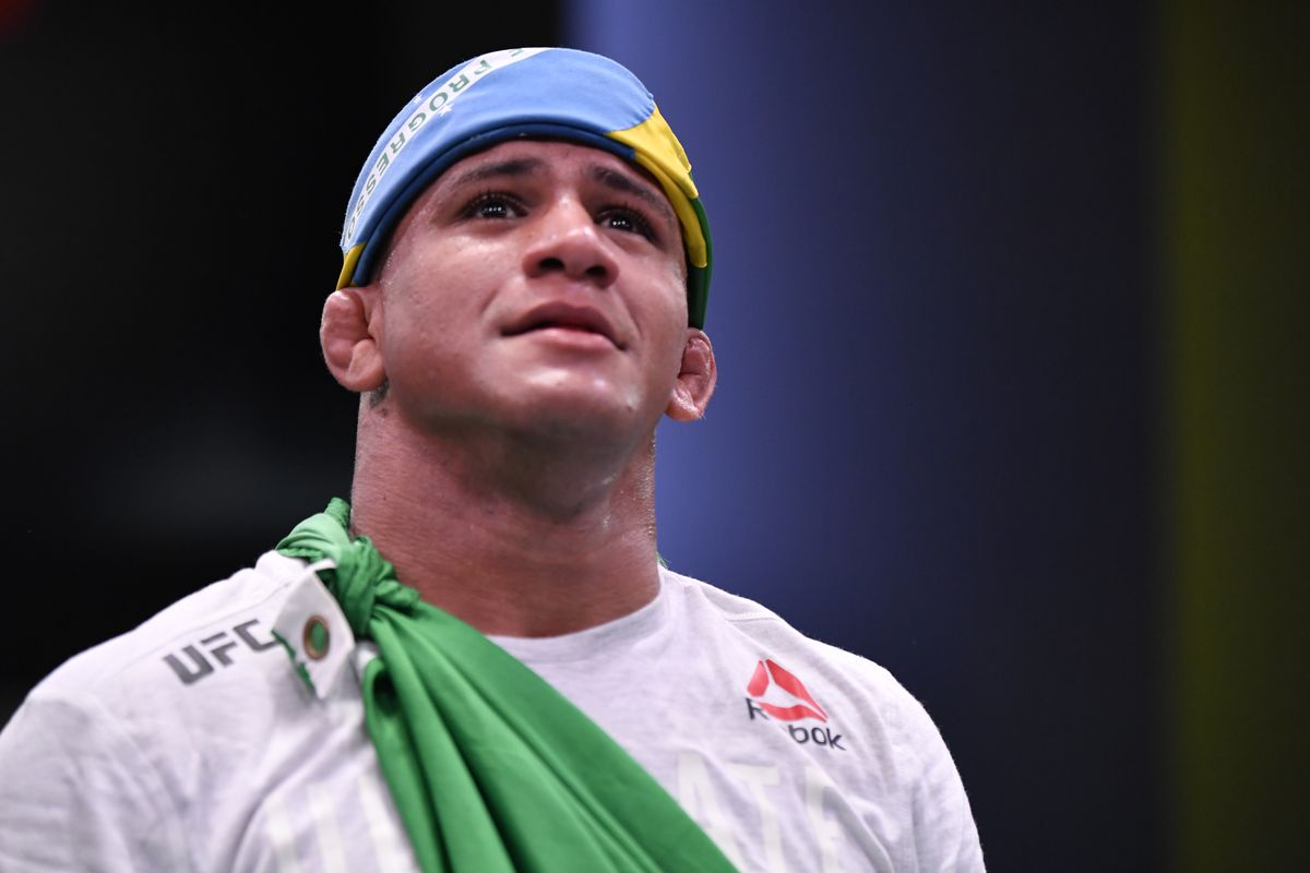 Gilbert Burns of Brazil reacts after his victory over Tyron Woodley in their welterweight fight during the UFC Fight Night event at UFC APEX on May 30, 2020 in Las Vegas, Nevada.