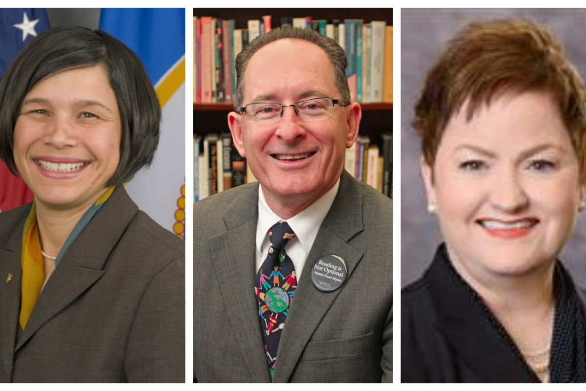 Finalists for the state superintendent's job in Michigan are, from left, Brenda Cassellius, Michael Rice, and Jeanice Swift