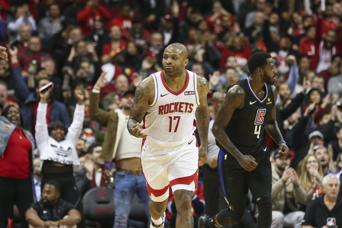 Houston Rockets forward PJ Tucker reacts after scoring a basket during the second quarter against the Los Angeles Clippers at Toyota Center.