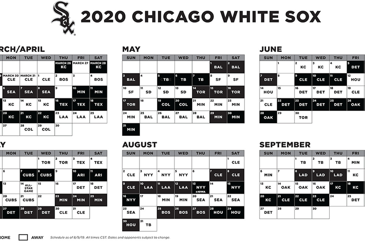 Chicago Cubs Home Opener 2020.2020 White Sox Schedule Reveal Day Is Here South Side Sox