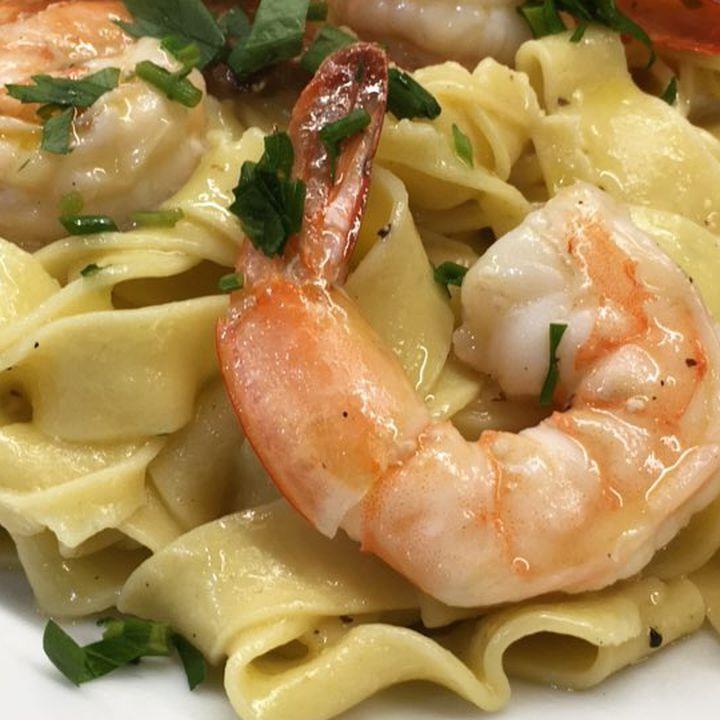 Semolina Kitchen garlic shrimp pappardelle