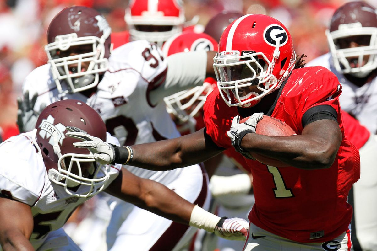ATHENS, GA - OCTOBER 01:  Isaiah Crowell #1 of the Georgia Bulldogs rushes upfield against the Mississippi State Bulldogs defense at Sanford Stadium on October 1, 2011 in Athens, Georgia.  (Photo by Kevin C. Cox/Getty Images)