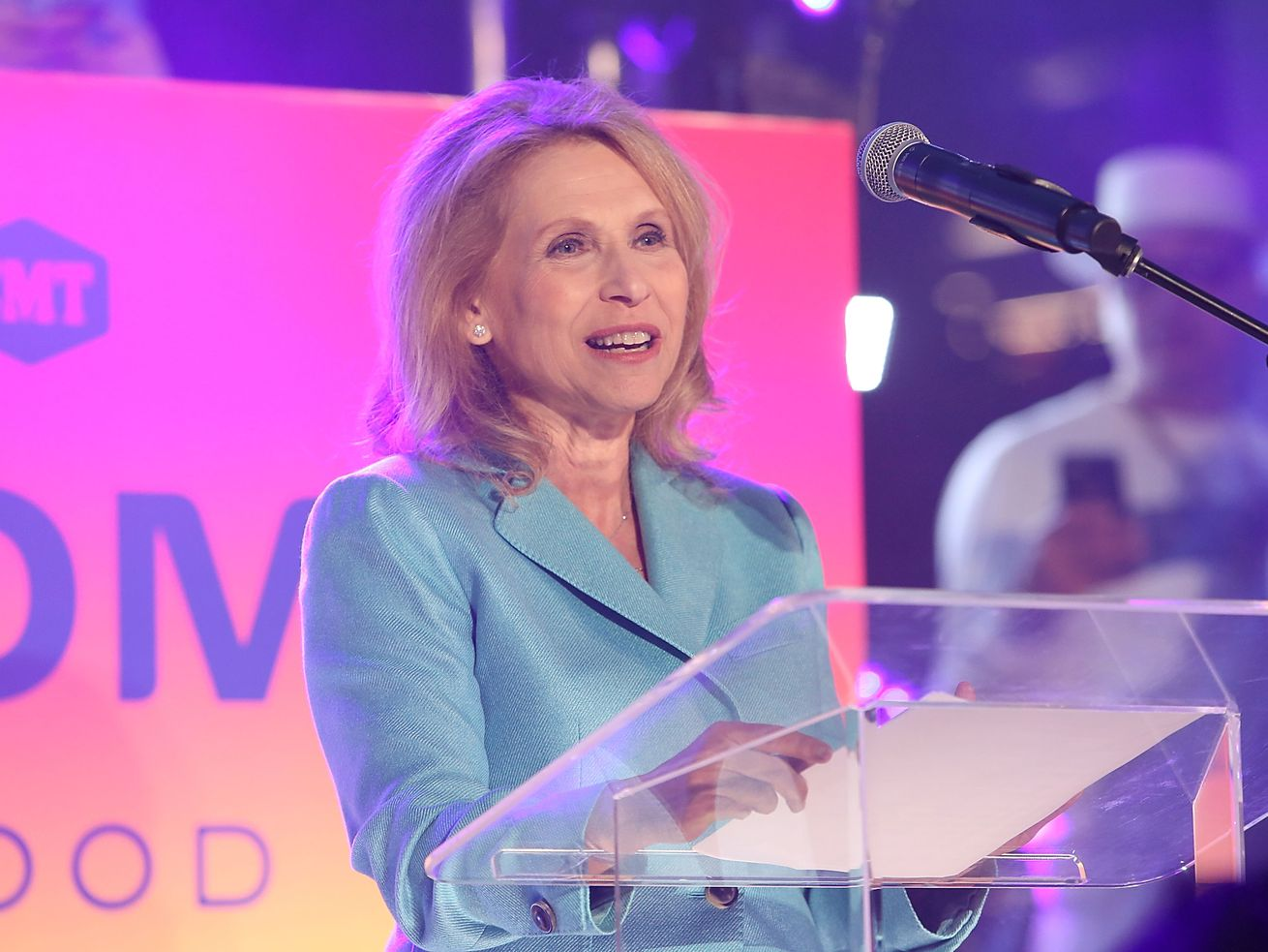Viacom executive Shari Redstone onstage behind a podium.