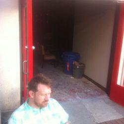 """<span class=""""credit"""">Bar manager Alexander Gregg on the patio [<a href=""""https://twitter.com/GoroNGun/status/312330728698429440"""">@GoroNGun/Twitter</a>]</span>"""
