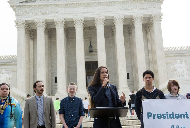 Earth Guardians Youth Director Xiuhtezcatl Martinez, one of the plaintiffs in the Juliana v. US climate lawsuit, speaks outside the US Supreme Court in 2017.