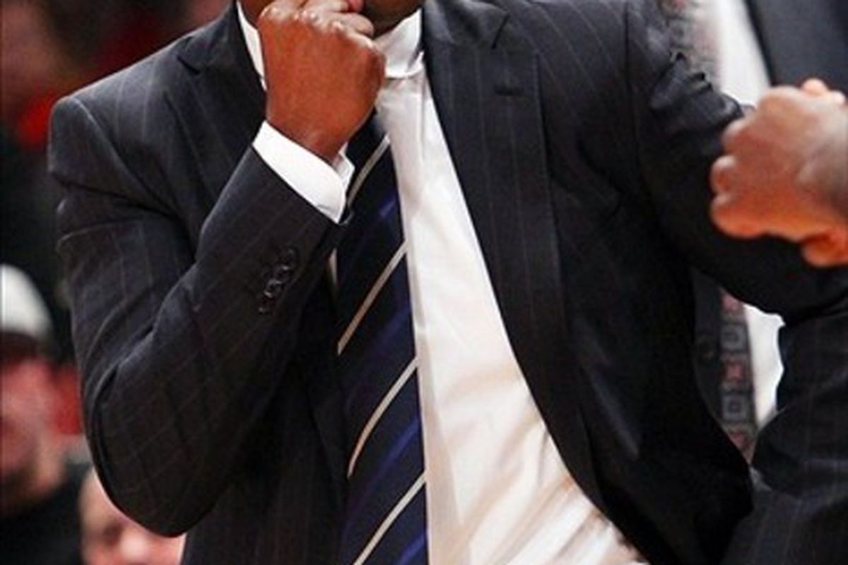 Feb. 20, 2012; New York, NY, USA; New Jersey Nets head coach Avery Johnson reacts on the sidelines during the second half against the New York Knicks at Madison Square Garden. Nets won 100-92. Mandatory Credit: Debby Wong-US PRESSWIRE