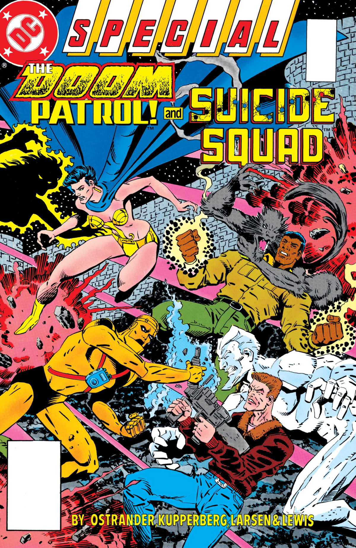 The Doom Patrol and the Suicide Squad clash on the cover of The Doom Patrol and Suicide Squad Special, DC Comics (1988).