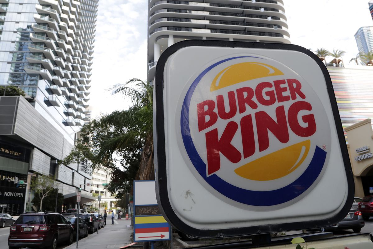This 2018, photo shows a sign for a Burger King in Miami Fla. (AP Photo/Lynne Sladky)