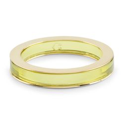 Gold Flanked Lucite Bangle in Safety Yellow, $58